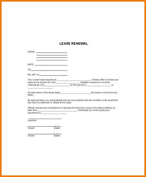 sample letter  tenant  renewing lease