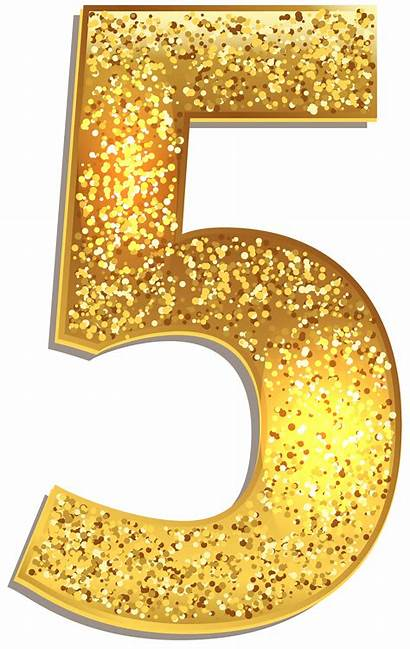 Number Numbers Clip Clipart Glitter Five Shining