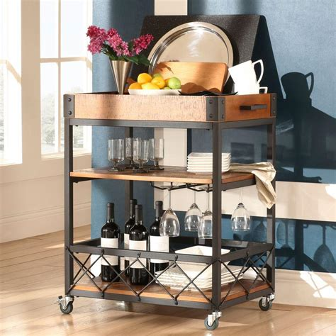 Bar Cart by Homesullivan Grove Place Rustic Pine Bar Cart With Wine