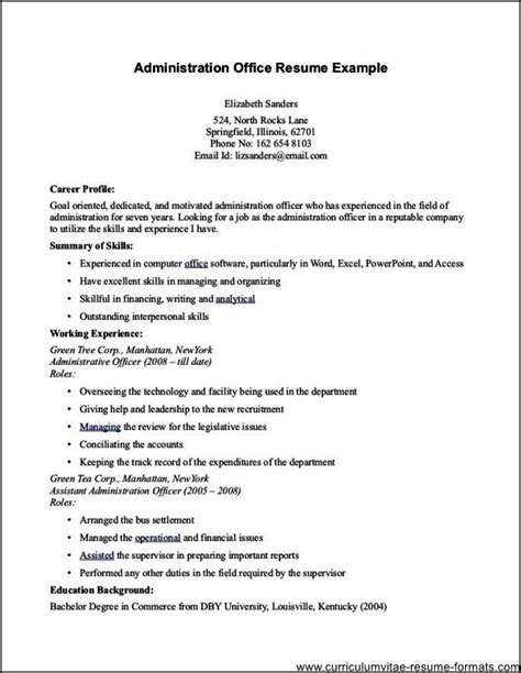 Admin Resume by Office Admin Resume Free Sles Exles Format
