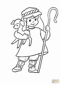 Shepherd with a lamb in his hands coloring page | Free ...