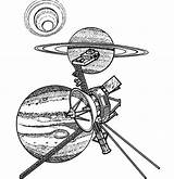 Satellite Coloring Pages Space Travel Planets Template Place sketch template