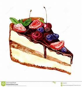 Watercolor Piece Of Chocolate Cake Stock Photo - Image