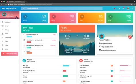 materialize  material design admin template