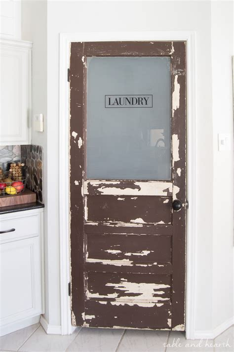 vintage touch rustic laundry door update table  hearth