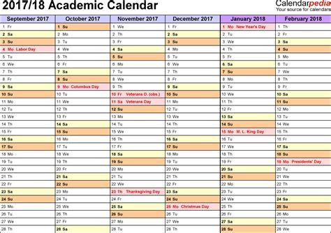 2017 2018 academic calendar template academic calendars 2017 2018 as free printable word templates