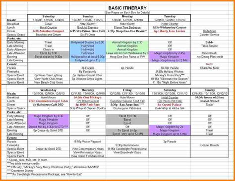 itinerary planner template family vacation itinerary template calendar templates