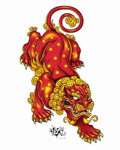 Japanese Tattoo Lion Dog Foo Fu Traditional