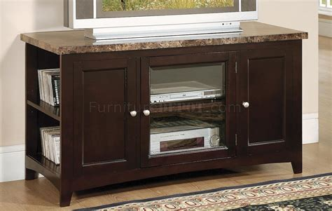 marble top tv stand mocha finish contemporary tv stand w marble top 7381