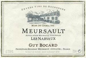 2004 Guy Bocard Meursault Les Narvaux, Cote de Beaune ...