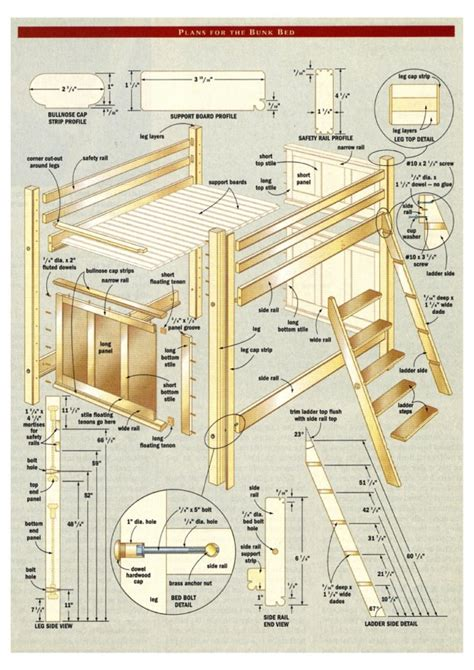 pdf plans bunk bed building plans designs download desk