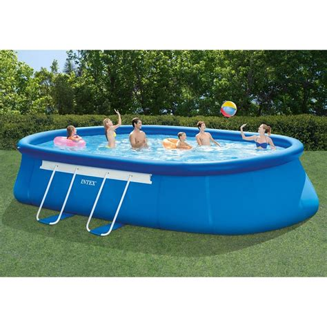 intex 20ft x 12ft x 48in oval frame above ground swimming pool set jet