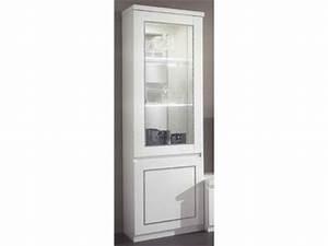 Vitrine Blanc Laqué : vitrine 1 porte chic laque blanc ~ Teatrodelosmanantiales.com Idées de Décoration