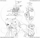 Castle Princess Outline Coloring Pony Clip Royalty Vector Illustration Drawing Pushkin Clipart Getdrawings sketch template