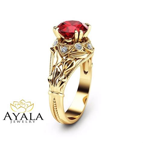 2 carat ruby leaf engagement ring unique ruby ring in 14k yellow gold ebay