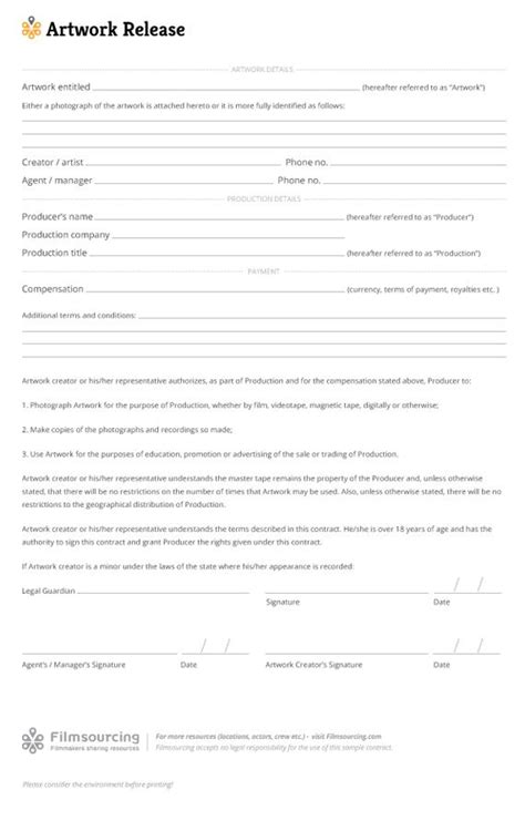 20245 artwork release form artwork release template rights can be a touchy subject