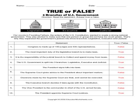three branches of government worksheet answers worksheets