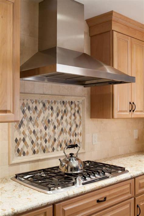kitchen  diamond shaped tile backsplash  stainless
