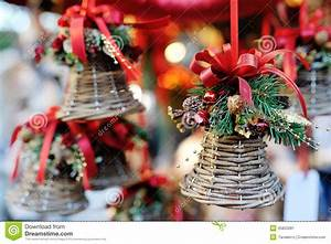 Christmas Tree Decoration Bell With Red Ribbon Stock Image ...
