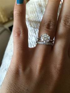 Show me your wedding band with tiffany style solitaire e ring for Wedding rings to go with solitaire engagement ring