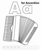 Accordion Coloring Practice Handwriting Pages sketch template