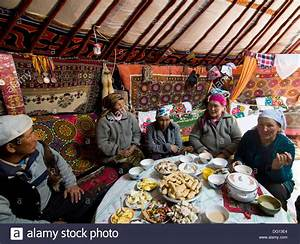 A traditional Kazakh feast inside a Kazakh yurt Stock ...