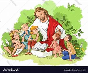 Jesus reading the bible to children Royalty Free Vector