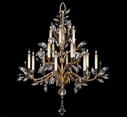 Chandelier Fine Crystal Lamps Gold Laurel Leaf