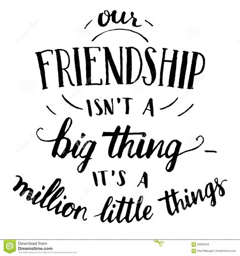 friendship hand lettering  calligraphy quote stock