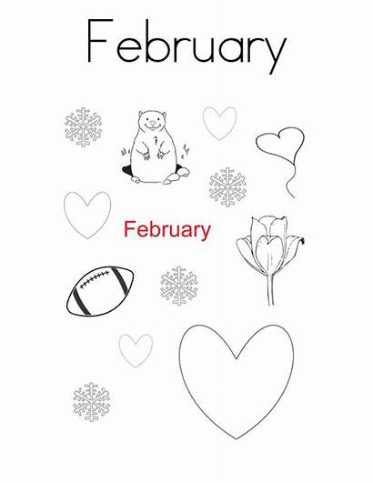 Coloring February Pages Printable Sheets Month Calendar