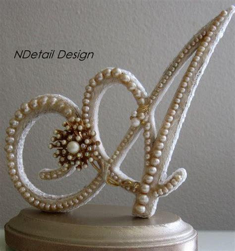 letter cake toppers monogrammed custom vintage pearl wedding cake by 22787