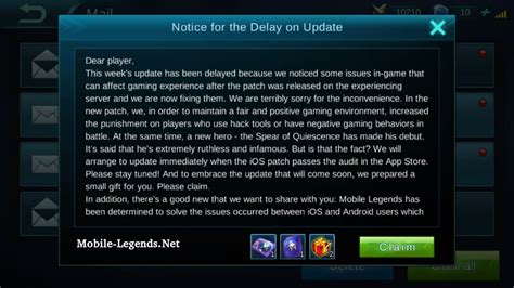 mobile legend update notice for the delay on update 2019 mobile legends