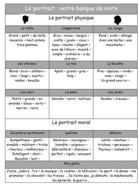 le vocabulaire du portrait vocabulaire lecture cm