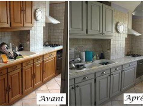 refaire les armoires de cuisine cuisine en chêne relookée gris clair patine plus sombre