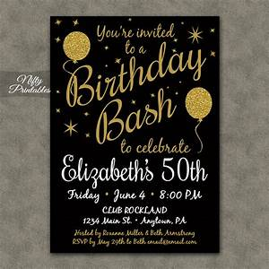 50th birthday invitation printable 50 black gold glitter With template for 50th birthday invitations free printable