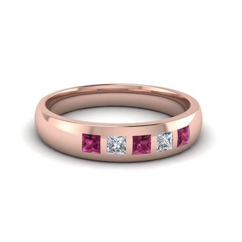 18k Rose Gold Pink Sapphire Men's Wedding Band
