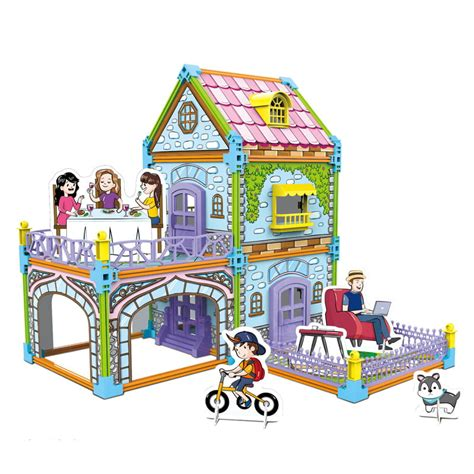 Pobierz szablony kolorowanek na swój komputer. Dwustronny domek do składania i kolorowania - Willa z ogrodem - Habarri