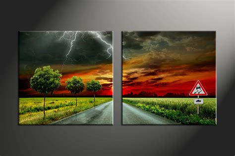 piece trees red sunset scenery canvas photography
