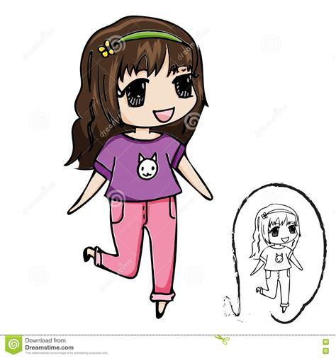 cute girl cartoon group   items