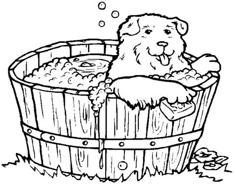 Printable Easter Coloring Page Dog In The Bath