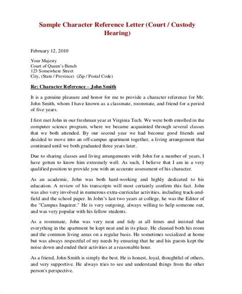 Character Reference by Sle Character Reference Letter For A Friend Court
