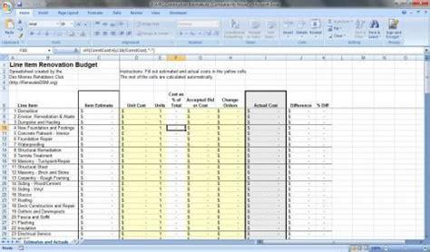 renovation budget spreadsheet  renovation