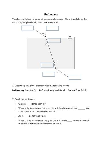 refraction worksheet by srobinson6522 uk teaching