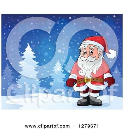 Santa Claus In Snowy Weather By Clairev Clipart Of Santa Claus Standing In A Snowy Forest Winter