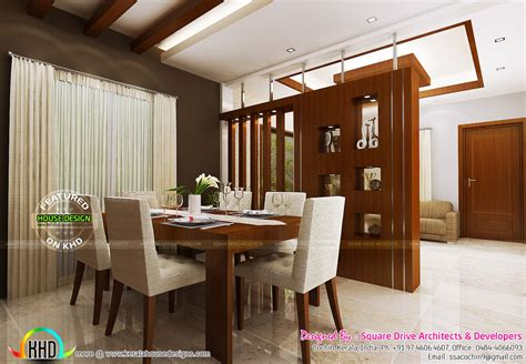 bedroom living  dining interiors kerala home design