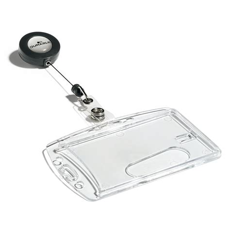 le bureau pince durable boîte de 10 porte badges de sécurité avec enrouleur pour 1 carte badge et porte nom