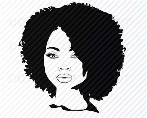 Female woman head hairstyle free vector. African American Woman SVG Black Woman Afro Silhouette ...