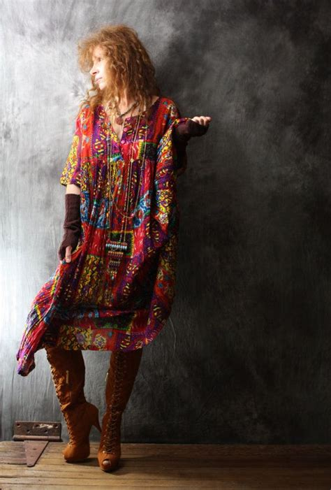 Vintage Dress 1980s India Cotton Bohemian Gypsy Colorful