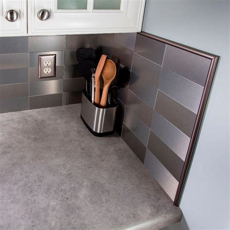 Aspect 24 In Champagne Steel Peel And Stick Decorative