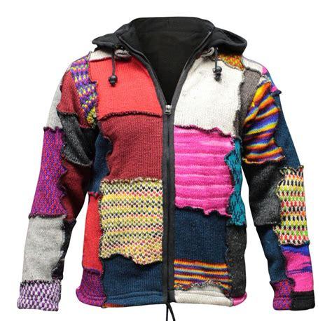 hippie sweaters 39 s tye dye patchwork hippie jacket fleece lined